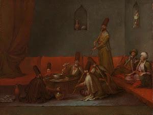 RIJKS: Jean Baptiste Vanmour: Dervishes Sharing a Meal 1737