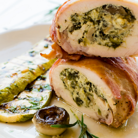 Chicken rolls by Yancho Zapryanov - Food & Drink Meats & Cheeses ( dish, cuisine, cheese, rolls, homemade, chicken, zucchini, fresh, cooking, lunch, roasted, rosemary, gourmet, closeup, meal, burned, vegetables, plate, table, sauce, pan, dinner, tasty, food, background, healthy, spinach, mushrooms, Food & Beverage, Eat & Drink )