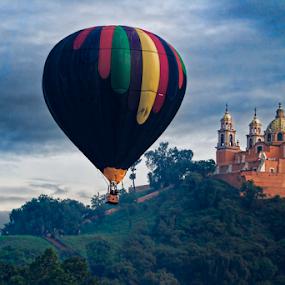 Hot Air balloon and Church by Cristobal Garciaferro Rubio - Transportation Other ( hot air balloon, cholula, mexico, puebla, balloon )