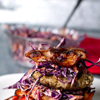 Mustard Beef Burgers with Red Cabbage Coleslaw