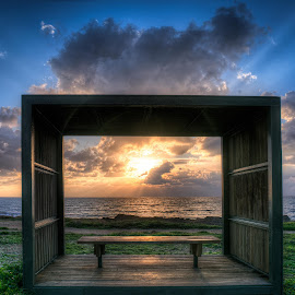 The Lovers Box by Raad Roger - Buildings & Architecture Other Exteriors ( clouds, pafos, sky, hdr, green, sunset, d800, box, nikon, rays, sun, cyprus )