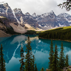 Cloudy Lake by Jared Dunn - Landscapes Mountains & Hills ( epic, reflection, canada, lake, banff, moraine )