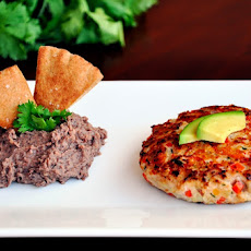 Fajita Burgers & Pita Chips with Black Bean Hummus