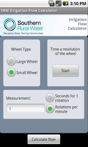 SRW Irrigation Flow Calculator