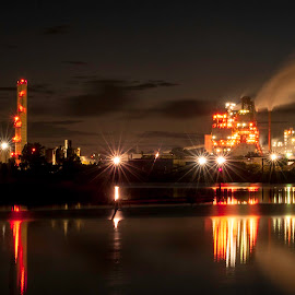 Paper Mill at Night by Cathie Crow - City,  Street & Park  Night ( georgetown sc, night photography, paper mill, factory, international paper )