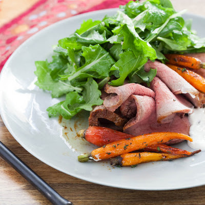 Roast Beef with Horseradish Sour Cream & Heirloom Carrots