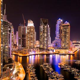 Dubai Marina by Sreekumar Sreedhar Menon - City,  Street & Park  Skylines ( sreekumar, le, dubai, uae, vinaya mohan, marina )