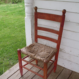 Faded on the Front Porch by Kaye Petersen - Artistic Objects Furniture ( chair, old, red, furniture, antique, porch, country, Chair, Chairs, Sitting )