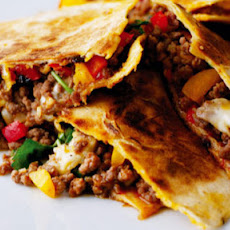 Spicy Beef With Chorizo And Sweet Peppers Toasted In Tortillas