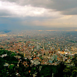 View of Bogota from Monserrate by Tyrell Heaton - Landscapes Weather ( bogota, colombia, view, monserrate,  )