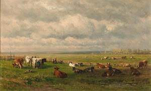 RIJKS: Willem Roelofs (I): Meadow Landscape with Cattle 1880