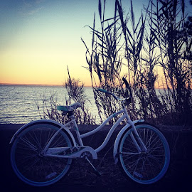 ImyI rode to the end of my street and watched theover by Rebe Cotten - Transportation Bicycles ( love, bike, beautiful, sunset, mobile, bay )