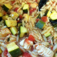 Chicken, Tomato, Zucchini, and Orzo Stew