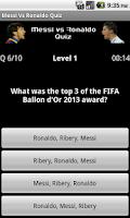 Screenshot of Messi vs Ronaldo Quiz