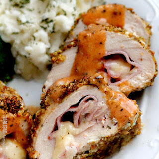 Pistachio Gruyere Chicken Cordon Bleu with Creamy Honey Dijon Sauce