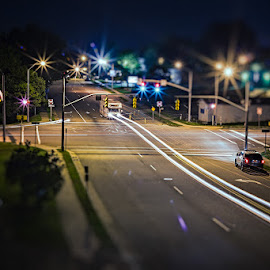 Are laserbeams street legal? by Sojourner X - City,  Street & Park  Street Scenes ( streetphotography, night photography, long exposure, vehicles )