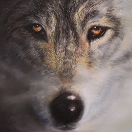 Wolfrik by Linda Woodward - Painting All Painting ( animals, nature, wolf, wild animals, wildlife )