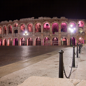 Arena in pink by Giancarlo Ferraro - Buildings & Architecture Public & Historical ( old, arena, night, pink, roman, cancer, the mood factory, mood, lighting, sassy, colored, colorful, scenic, artificial, lights, scents, senses, hot pink, confident, fun, mood factory  )