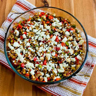 Vegetarian Greek Lentil Casserole with Bell Peppers and Feta