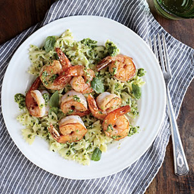 Shrimp Farfalle with Arugula Pesto