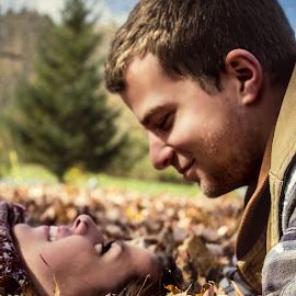 Falling In Love by Morgan Jacques - People Couples ( autumn, fall, couple, leaves, cute, engagement,  )
