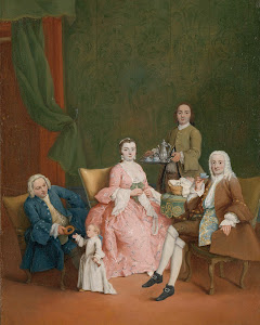RIJKS: Pietro Longhi: Portrait of a Venetian Family with a Manservant Serving Coffee 1752