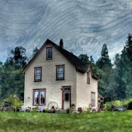 House Of Dreams by Ernie Kasper - Digital Art Places ( farm, dreaming, colourful, pattern, canadianartist, art, artistic )