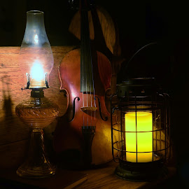 Music and Light by Tim Hall - Artistic Objects Still Life ( lantern, candle, violin, candlelight, 19th century, low light, nineteenth century, fiddle, 1800s, existing light )
