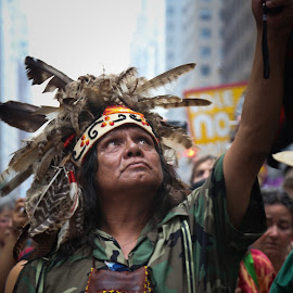 Native American by Victor Mirontschuk - People Street & Candids ( climate march, march, nyc, man, native american )