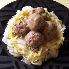 Asian Pork Balls With Napa Cabbage