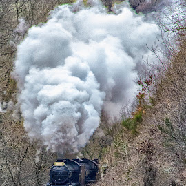 She'll be coming round the mountain when she comes by Dez Green - Transportation Trains ( railway, railroad, steam train, historical, smoke, steam )