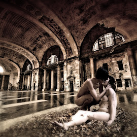 Beloved  by Aga Furtak - Digital Art People ( affection, nude, architecture, romance, love, kiss, industrial, woman, couple, detroit, man, abandoned, decay, Architecture, Ceilings, Ceiling, Buildings, Building )