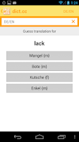 Screenshot of dict.cc+ dictionary