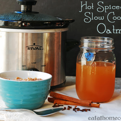 Hot Spiced Apple Cider Oatmeal in the Slow Cooker