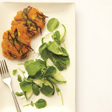 Lentil Cakes with Feta-Yogurt Sauce and Cucumber-Cress Salad