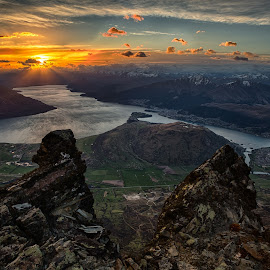 On Top of the World by Pete Whittaker - Landscapes Sunsets & Sunrises ( mountains, sunset, lakes, landscape, new zealand )