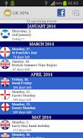 Screenshot of UK Holidays Calendar 2014