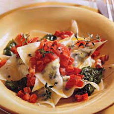 Goat Cheese-Arugula Ravioli with Tomato-Pancetta Butter