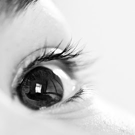 Eye See by Alex Rift - People Body Parts ( reflection, white, black, closeup, and, up, close, room, eye )
