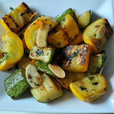 Sautéed Zucchini and Summer Squash with Chili, Mint and Toasted Almonds
