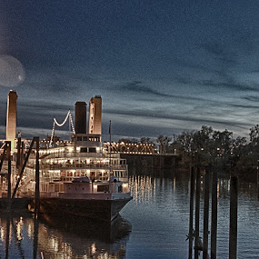 Delta Queen by Mike F - Transportation Boats ( water, sacramento, long exposure, night, delta queen, river )