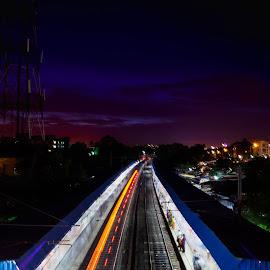 Night Light at Railway Stations... by Soumin Saha - Abstract Light Painting ( light painting, railway, railway station, light trails, night, nightscape )