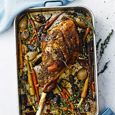 Slow-Roasted Leg of Lamb with Spring Vegetables