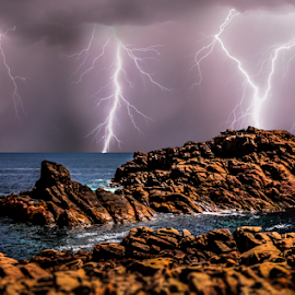 Canal Rocks Lightning storm by Craig Eccles - Landscapes Weather ( thunder, lightning strike, lightning, lightning storm, thunder bolt., waves, ocean, thunder storm, beach, storm, rocks )