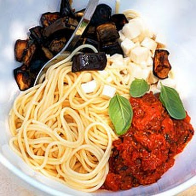 Sicilian Pasta with Roasted Tomatoes and Aubergines