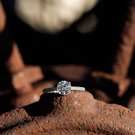 Rustic diamond by Joseph Humphries - Wedding Details ( sparkly, wheel, diamond, shallowdof, rust, spoke, rustic, shadows, object, artistic, jewelry )