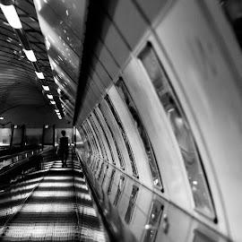 by Valery Sugi - City,  Street & Park  Street Scenes ( prague metro, b&w, stairs, street life, black and white, still life, czech republic, malostranske, malostranske namesti, prague )