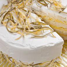 White Cake with Lemon-Lime Curd Filling and Whipped Cream Frosting