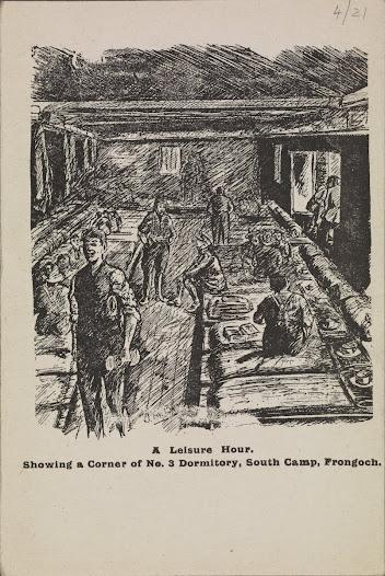 Illustration of dormitory at Frongoch Camp, Wales