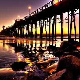 Oceanside Pier by Michael Cazares - Buildings & Architecture Bridges & Suspended Structures ( oceanside, sunset, pier, landscape )